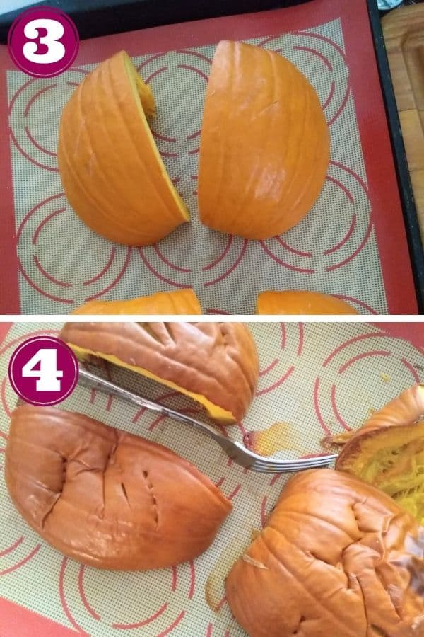 Step 3 shows 2 pieces of the raw pumpkin on a silicone lined sheet pan. Step 4 shows the pumpkin fresh out of the oven with the skin starting to wrinkle.