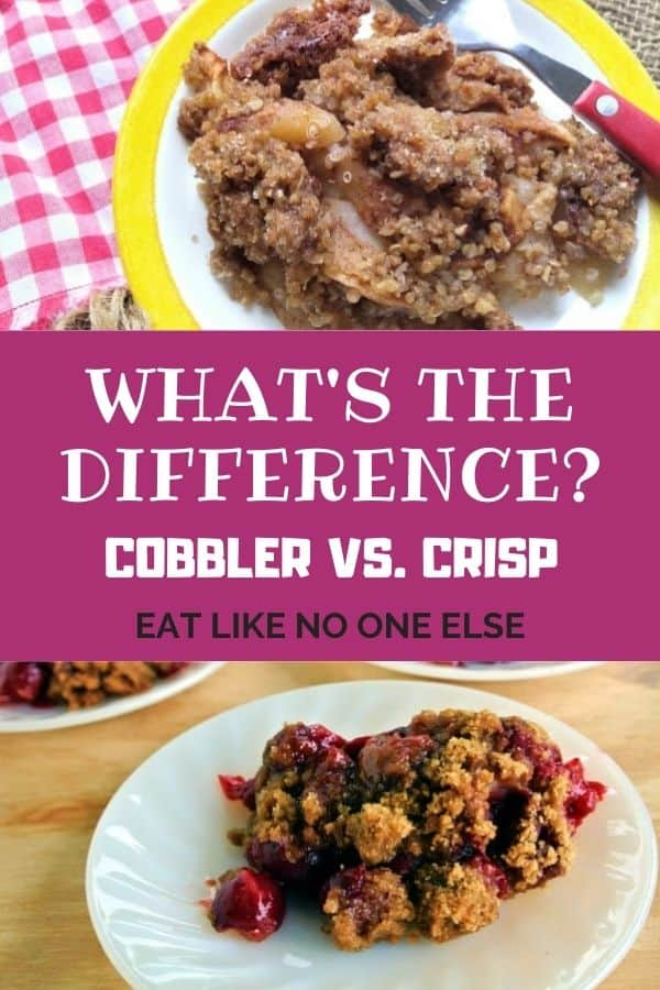 """Apple cobbler on top with a cherry cobbler on bottom with the words """"What's the Difference - Cobbler vs. Crisp""""."""
