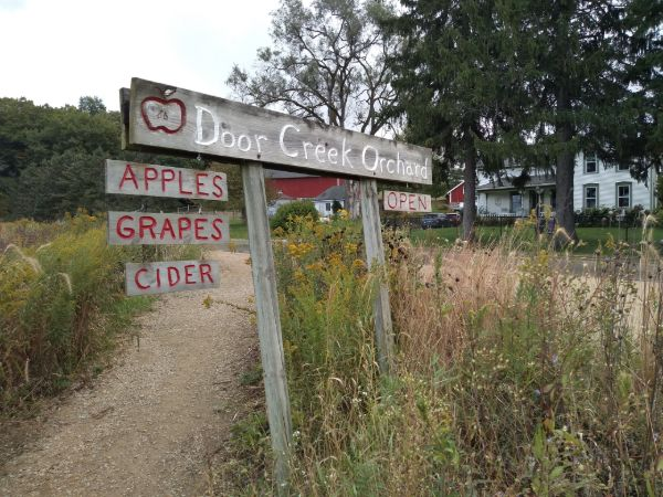 "A sign in front of Door Creek Apple Orchards that says ""apple, grapes"" cider"" and ""open""/"