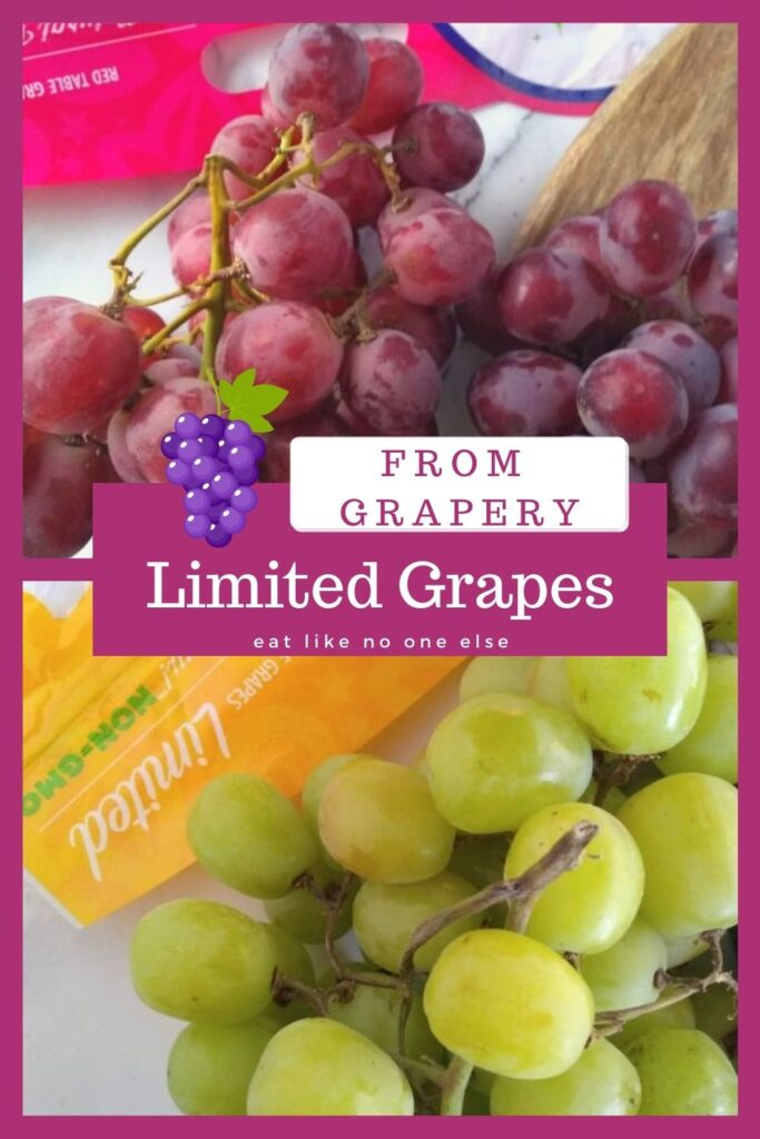 A collage of Grapery's limited grapes with red on top and green on the bottom.