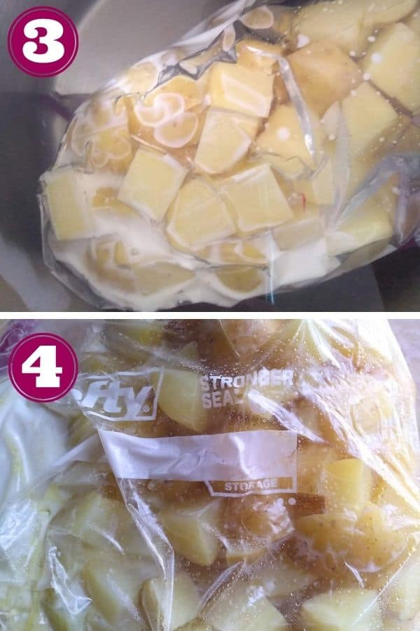 Step 3 shows the potatoes inside a water bath Step 4 shows the finished potatoes in the bag on a counter cooling