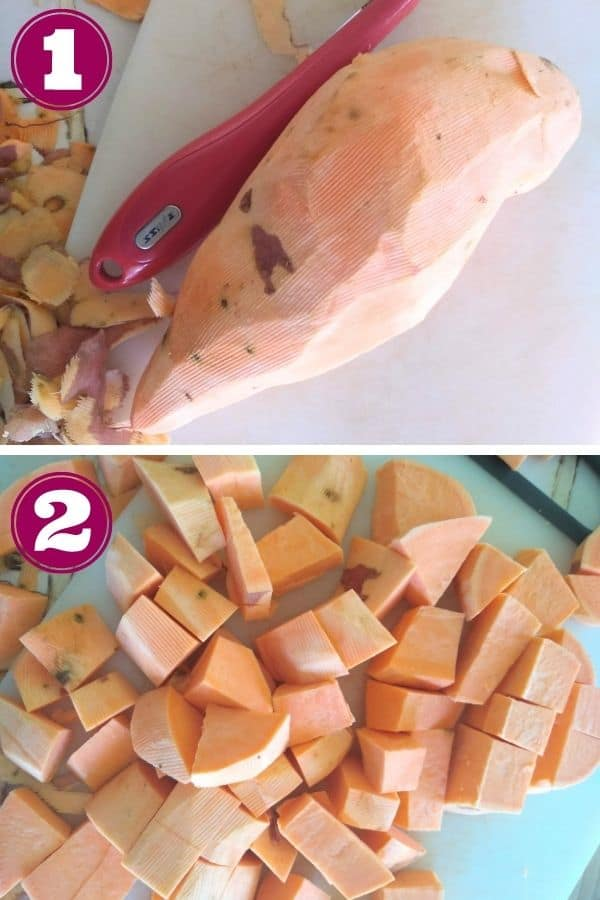 Step 1 shows a sweet potato has been peeled Step 2 shows the sweet potato cut into cubes