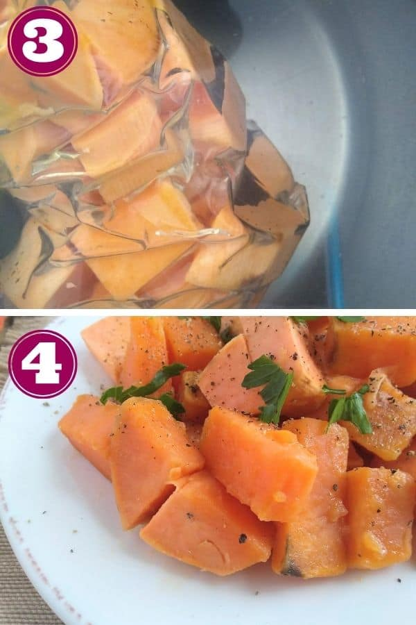 Step 3 shows the sweet potatoes inside a water tight bag inside of a hot water bath Step 4 shows the finished sweet potatoes on a plate topped with fresh herbs