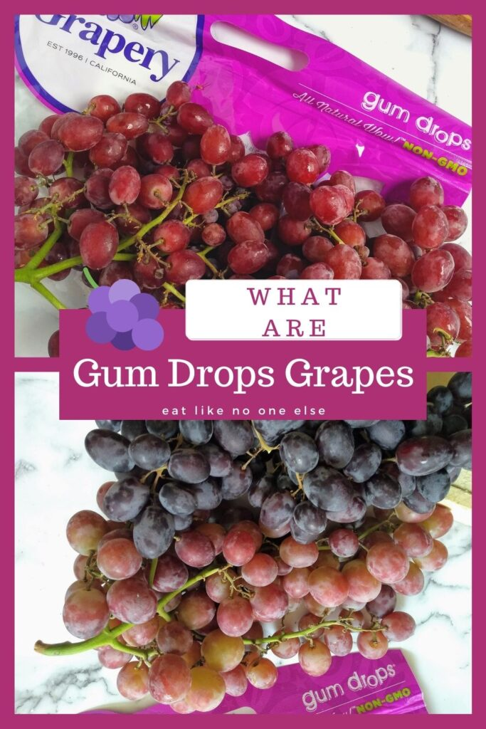 "A collage of different types of Gum Drops grapes are on a white backdrop. The words ""What are Gum Drops Grapes"" appear in the center"