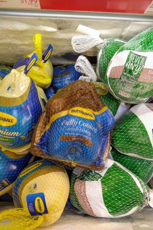 Butterball, Smoked Turkey, and Never Any! turkey show on display at ALDI.