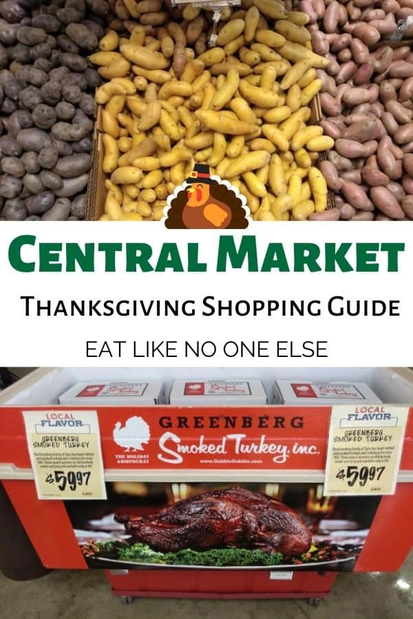 """A collage containing fingerling potatoes on top and a smoked turkey underneath. In the middle it says """"Central Market Thanksgiving Shopping Guide""""."""
