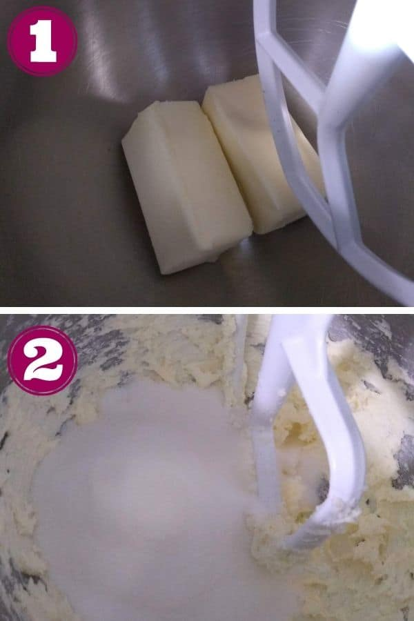 Step 1 shows the butter in the mixing bowl Step 2 shows the butter and sugar being mixed together