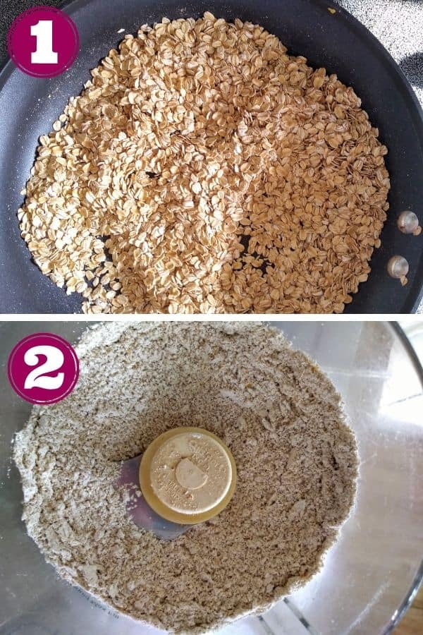 Step 1 shows the oats being toasted in a frying pan  Step 2 shows the oats being processed into flour in a food procesor