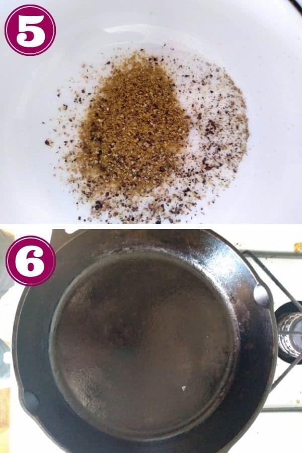 Step 5 shows a bowl of seasoning - kosher salt, black pepper, and cumin. Step 6 shows a cast iron skillet on top of a burner of a gas oven.