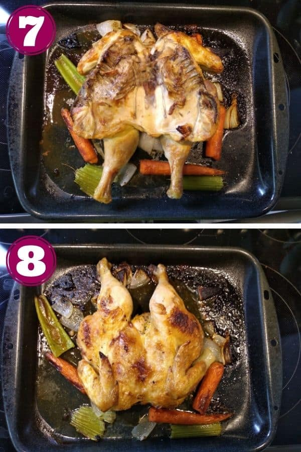 Step 7 shows the chicken turned over so the breast side is down Step 8 shows the finished chicken in the roasting pan.