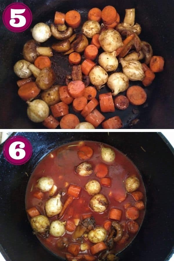 Step 5 shows mushrooms, carrots, pearl onions, and garlic in a Dutch oven on the stove Step 6 shows tomato juice and vinegar added to the pot.