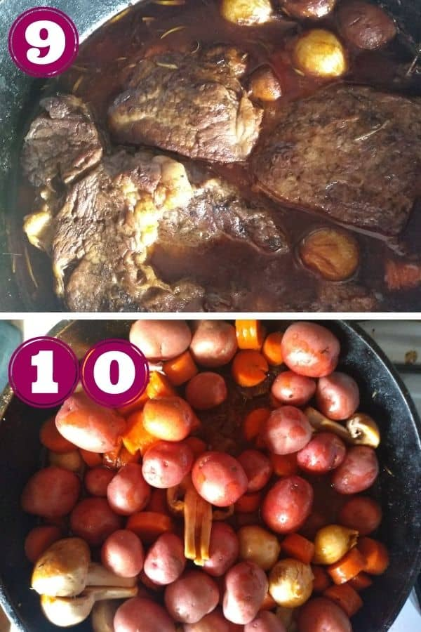 Step 9 shows the beef after being cooked for 2 hours. There is more liquid in the pot now Step 10 shows the potatoes added to the pot
