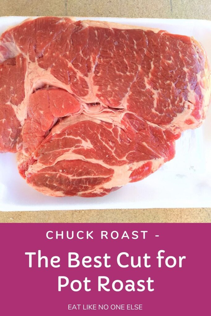 "A boneless chuck roast is sitting on white Styrofoam with the words ""Chuck Roast - The best Cut for Pot Roast"" underneath."