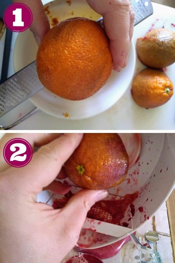 Step 1 shows the zest being removed from a blood orange with a Microplane zester into a bowl Step 2 shows a blood orange being juicer with a Kitchen Citrus juicer attachment