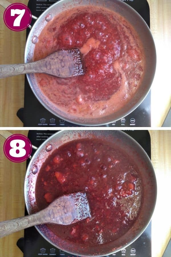 Step 7 shows the jam being cooked in a frying pan with a wood spatula for stirring Step 8 shows the jam has been thickened and is darker now in color