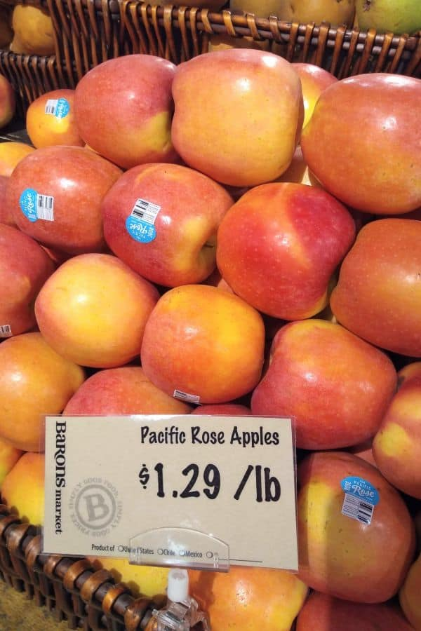 A display of Pacific Rose apples at a Barons store in Wildomar, CA.