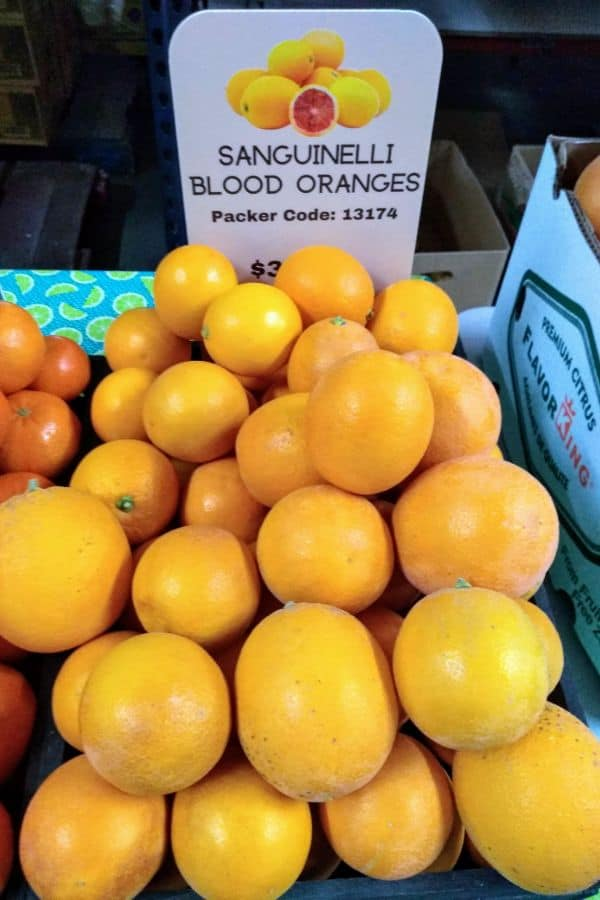 Sanguinelli Blood oranges on a display at Specialty Produce market in San Diego.