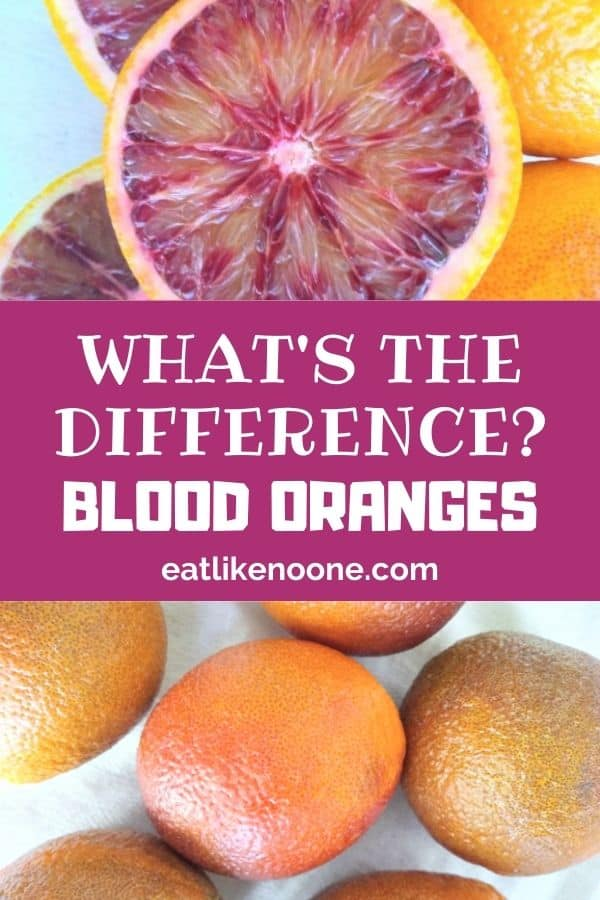"The words ""What's the Difference"" appear in the middle with a cut open blood orange on top and whole blood oranges on the bottom."