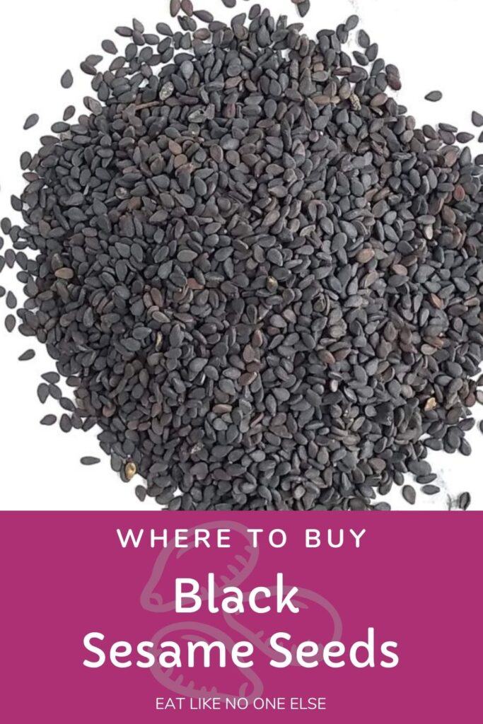 """Black sesame seeds sitting on a white background with the words """"Where to Buy Black Sesame Seeds"""" underneath."""