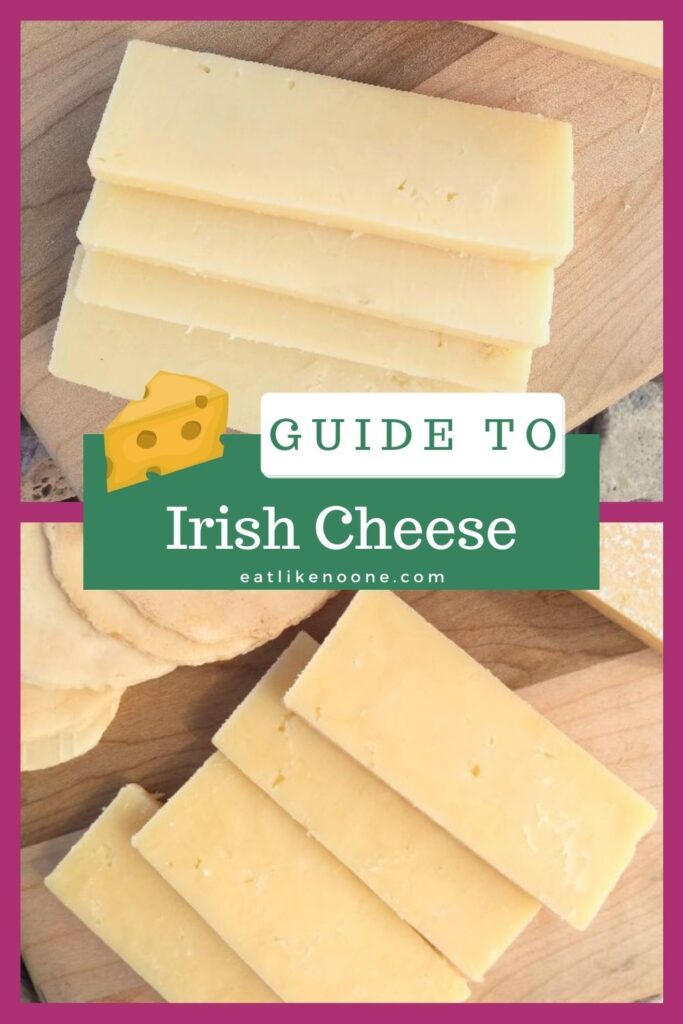 "Slices of Irish cheese on a wood cutting board with the words ""Guide to Irish cheese"" over top."