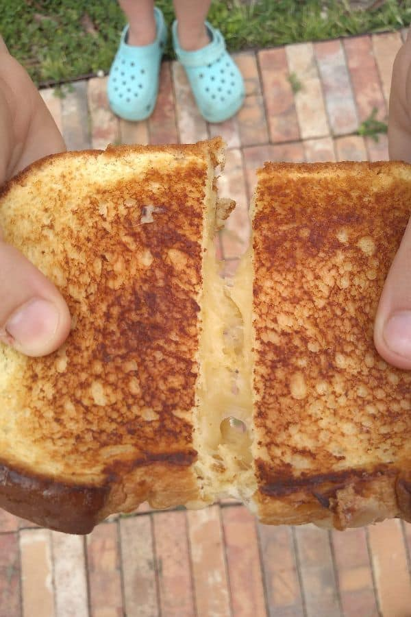 A cut grilled cheese sandwich with Kerrygold Skellig cheese. The cheese is not stretching very much.