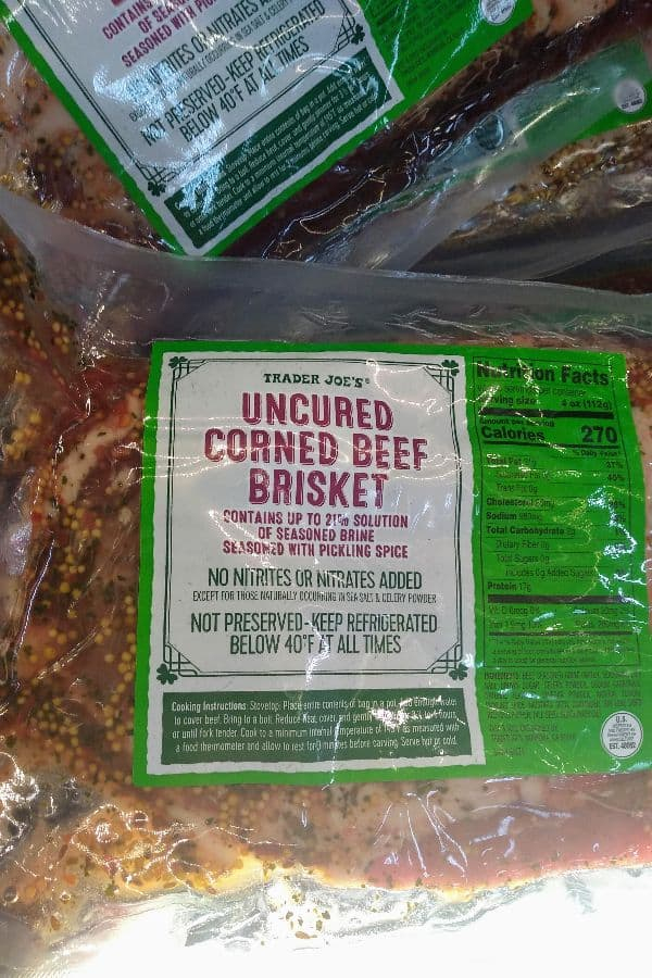 Trader Joe's Uncured Corned beef Brisket in it's packaging at the store.