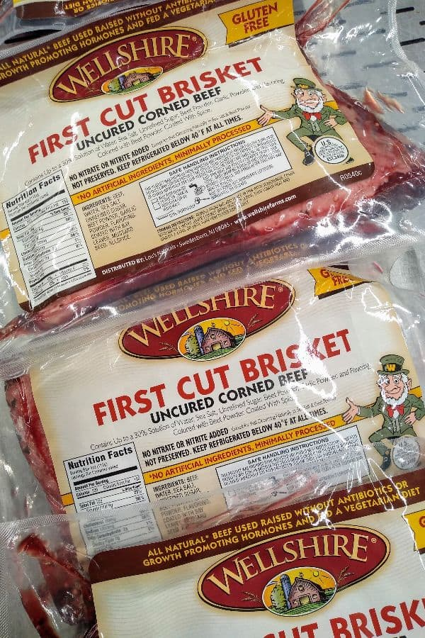 Wellshire First Cut Brisket Uncured Corned Beef in it's packaging at the store.