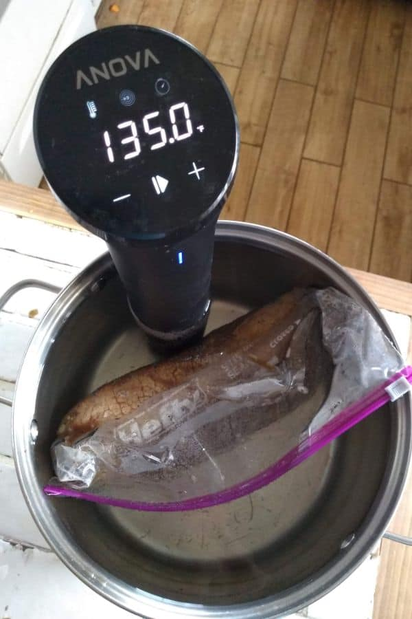 An Anova immersion circulator attached to a stainless steel pot filled with water and a steak in a plastic bag.