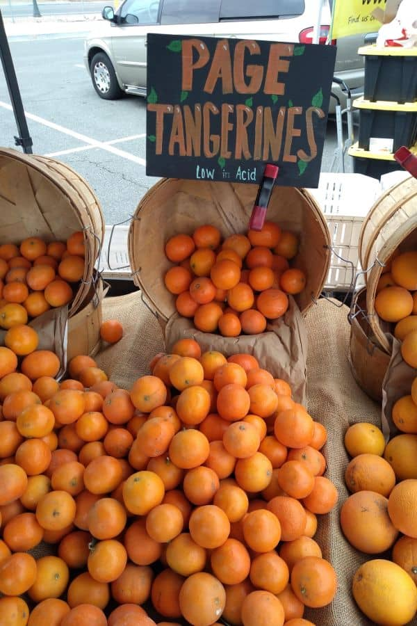 Page tangerines in baskets at a farmer's market. The fruit is spilling onto a burlap covered table. It's marked with a colorful sign.