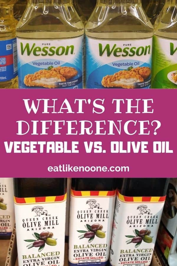 """Wesson Vegetable Oi is pictured at the top with Queen Creek Olive oil at the bottom. In the middle it reads """"What's the Difference? Vegetable vs. Olive Oil"""