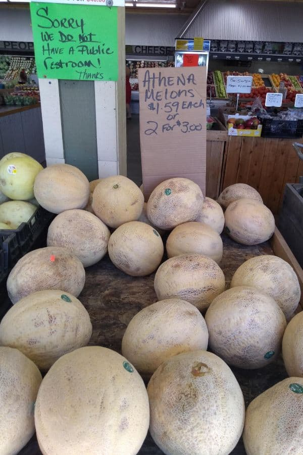 Athena melons selling for $1.59 each or 2 for $3.00 at a farm market.