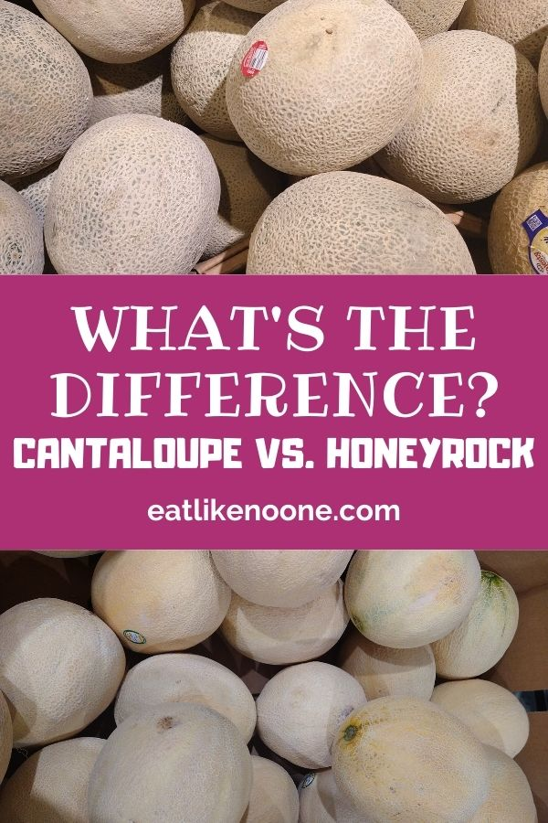 """A collage with Cantaloupe melons on top and Honeyrock melons on the bottom. In the middle in a maroon box with white letters it says """"What's the Difference? Cantaloupe vs. Honeyrock"""""""