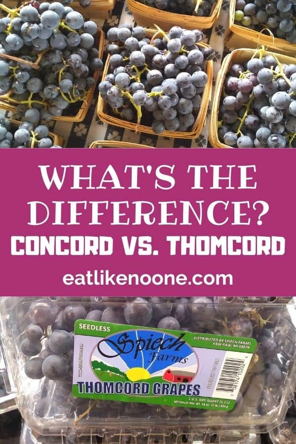 """At the top a picture of concord grapes in wooden quart sized containers. On the bottom a plastic clamshell package of thomcord grapes. In between the photos it says """"What's the Difference? Concord vs. Thomcord""""."""