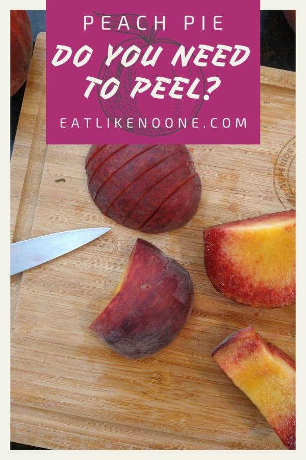 """Slicing up peaches on top of a wood cutting board with a knife. On the top is a maroon box with the words """"Peach Pie Do You Need to Peel?"""
