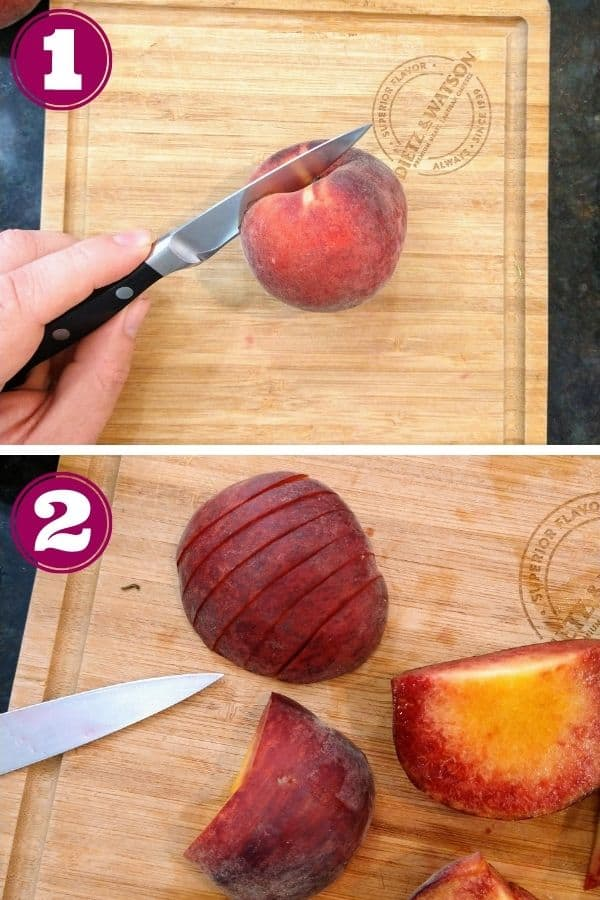 Step 1 shows a knife cutting through a peach on a wood cutting board Step 2 shows the peach with the skin on being sliced into segments.