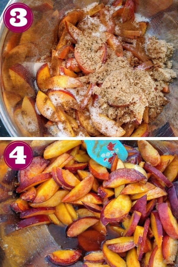 Step 3 shows the peaches in a mixing bowl with brown sugar, white sugar, and spices on top. Step 4 shows the liquid that pools at the bottom of the bowl after the peaches have sat for 15 minutes.