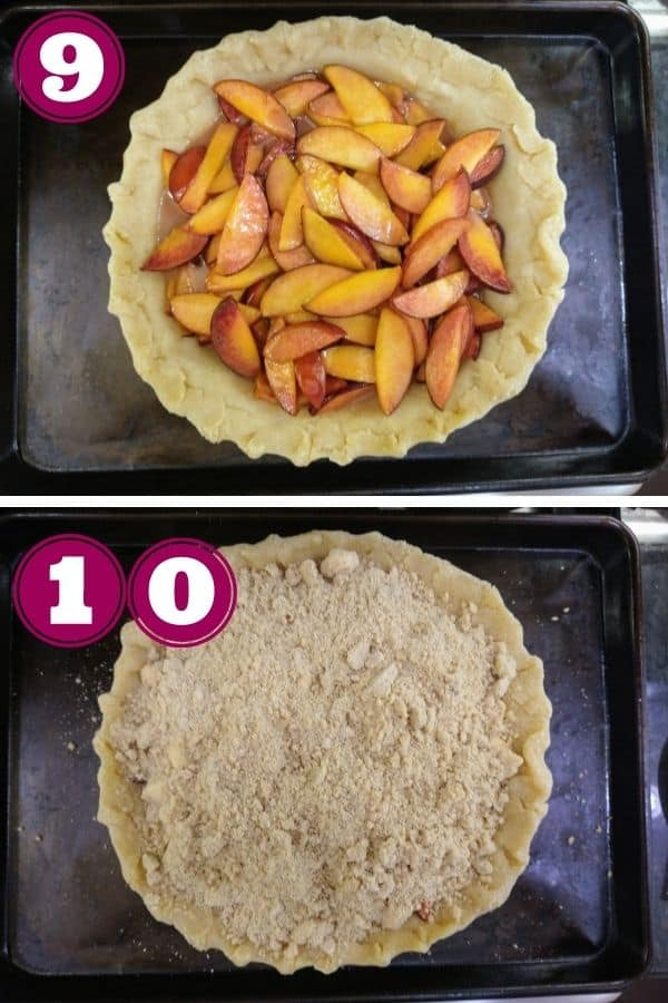 Step 9 shows the peaches added to the crust of the pie. The pie is sitting on a sheet pan Step 10 shows the topping evenly added to the pie so you no longer see the peaches.