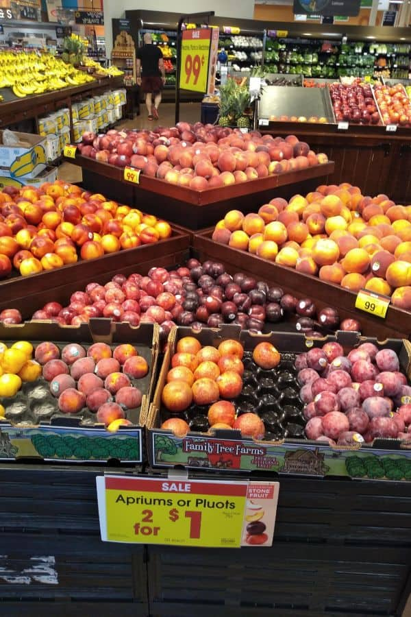 A Kroger tiered display with several varieties of pluots and apriums on sale for 2 for $1. The pluots and apriums are in Family Tree Farms boxes.