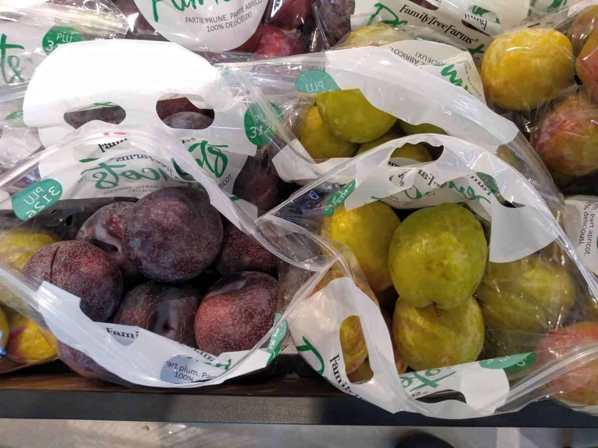 A grocery store display of bagged pluots shown overhead with the bags open. The fruit on the left is purple/black and the fruit on the right is green.