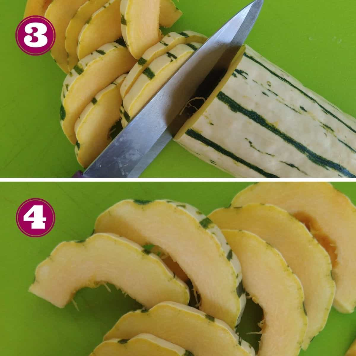 Step 3 shows Delicata squash being sliced with a knife into half moon shapes. The squash is on top of a bright green plastic cutting board. Step 4 shows all the finished half moon slices with the skin still attached.