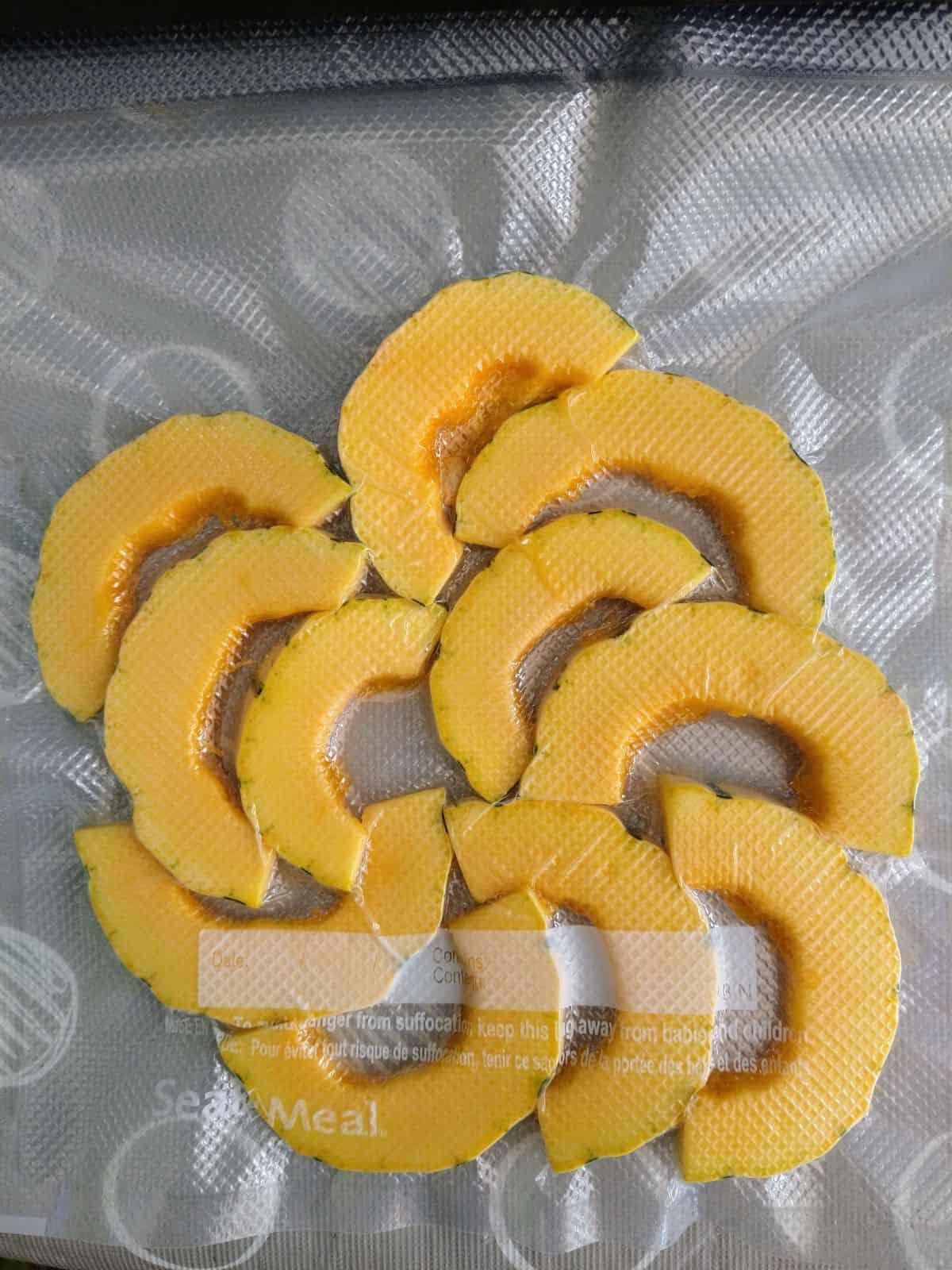 Delicata squash half moon pieces sealed inside of a vacuum sealed bag.